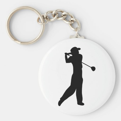 golf player basic round button key ring