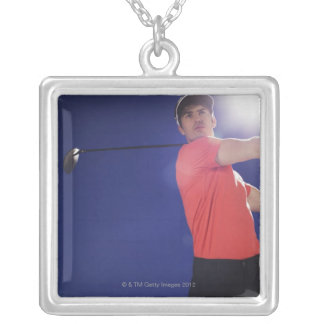 Golf player swinging club silver plated necklace