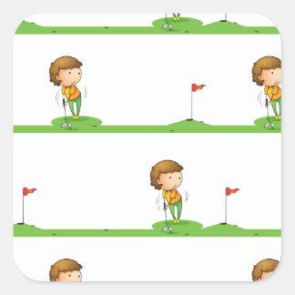 Golf playing boy square sticker