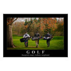 Golf poster featuring three friends walking