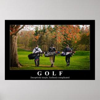 Golf poster featuring three friends walking toward