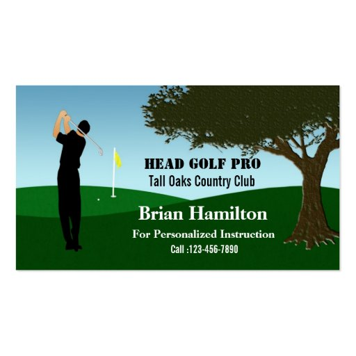 Golf Pro Instructor Business Cards