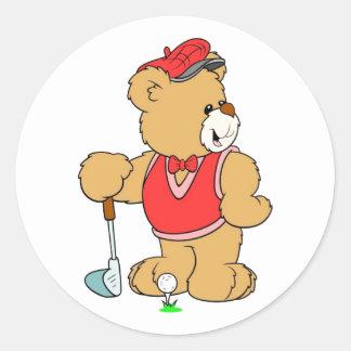 Golf Pro Teddy Bear Round Sticker