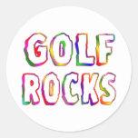Golf Rocks Round Sticker