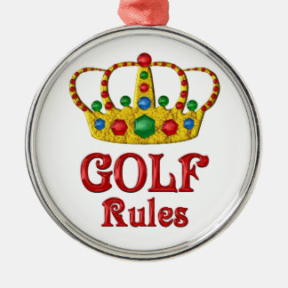 GOLF RULES Silver-Colored ROUND DECORATION