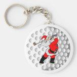 Golf Santa Basic Round Button Key Ring