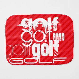 Golf; Scarlet Red Stripes Burp Cloths