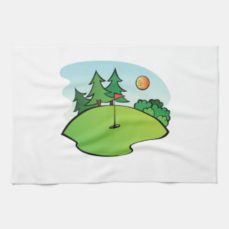 Golf Scene Tea Towel
