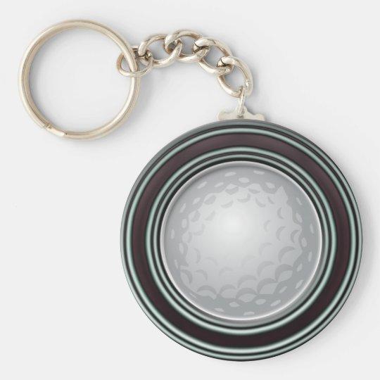 Golf Shot Basic Round Button Key Ring