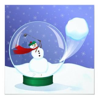 """Golf Snowman Snow Globe Invitations 5.25"""" Square Invitation Card"""