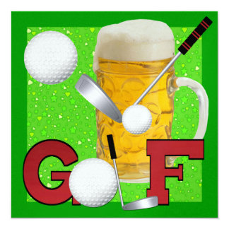 "Golf - SRF 5.25"" Square Invitation Card"