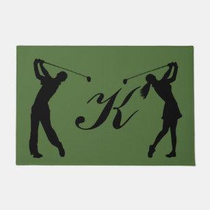 Golf Swinger Customisable Monogram Doormat