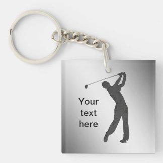 Golf Swinger Customizable Single-Sided Square Acrylic Key Ring