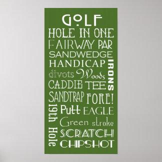 Golf Terms Subway Sign Poster