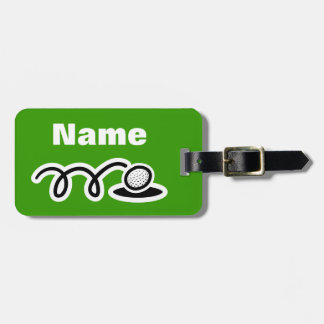 Golf theme luggage bag tag with customizable text