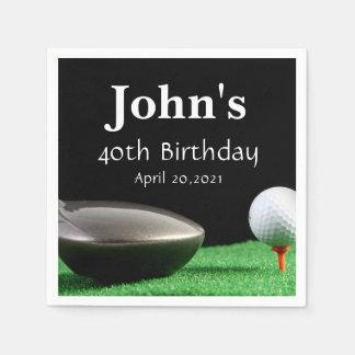 Golf Theme Man's Birthday Personalized Napkin Disposable Serviettes
