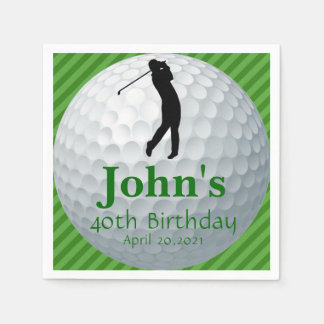 Golf Theme Man's Birthday Personalized Napkin Paper Serviettes