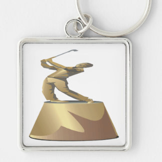 Golf Trophy Silver-Colored Square Key Ring