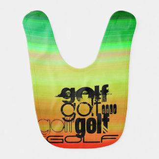Golf; Vibrant Green, Orange, & Yellow Baby Bibs