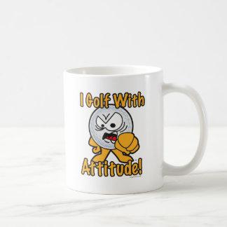 Golf With Attitude Cartoon Golf Ball Basic White Mug
