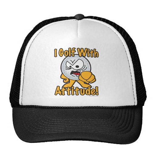 Golf With Attitude Cartoon Golf Ball Mesh Hats