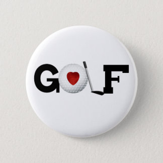 Golf with Golf Ball 6 Cm Round Badge