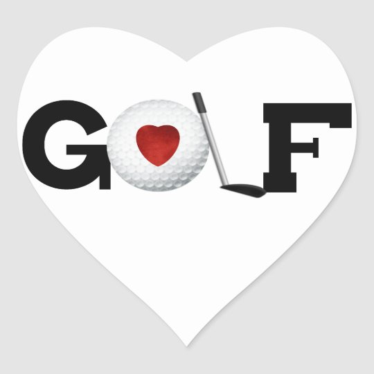 Golf With Golf Ball Tshirts and Gifts Heart Sticker