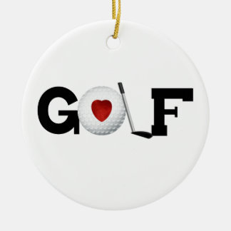 Golf With Golf Ball Tshirts and Gifts Round Ceramic Decoration