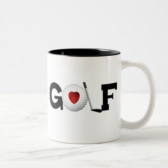 Golf with Golf Ball Two-Tone Coffee Mug