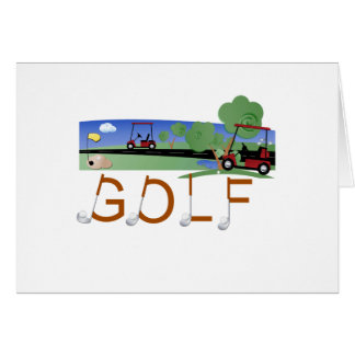 Golf with Golf Carts Greeting Card