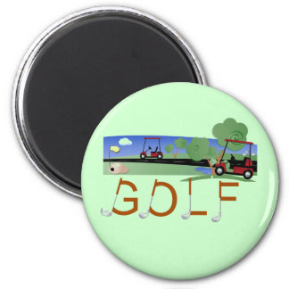 Golf With Golf Carts Tshirts and Gifts 6 Cm Round Magnet