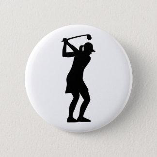 Golf woman 6 cm round badge
