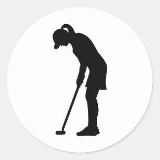 Golf woman girl classic round sticker