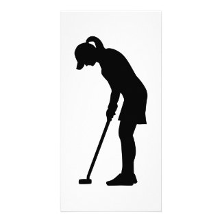 Golf woman girl custom photo card