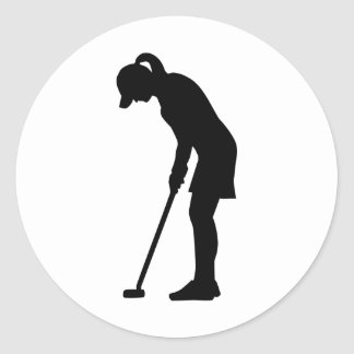 Golf woman girl round sticker