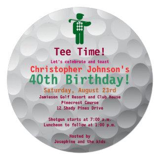 Golfball Green Golf 40th Birthday Party Invitation