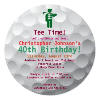 "Golfball Green Golf 40th Birthday Party Invitation 5.25"" Square Invitation Card"