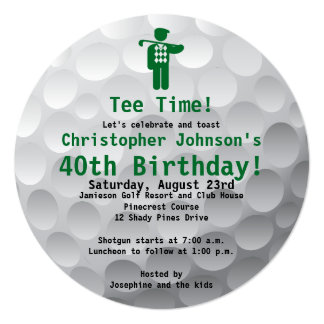 "Golfball Green Golf 40th Birthday Party Invitation 5.25"" Square Invitation Card"