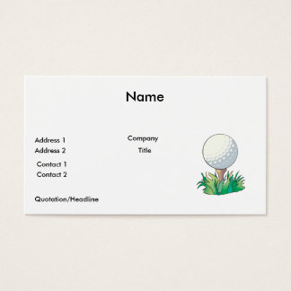 golfball sitting on golf tee business card