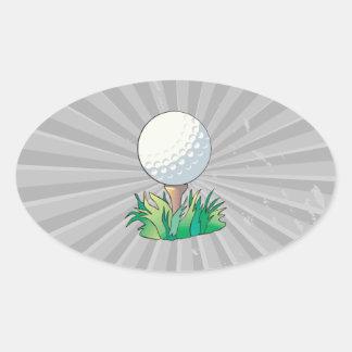 golfball sitting on golf tee oval sticker