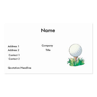 golfball sitting on golf tee pack of standard business cards