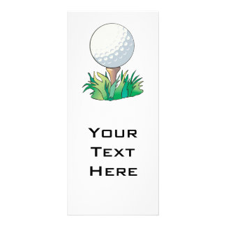 golfball sitting on golf tee rack card