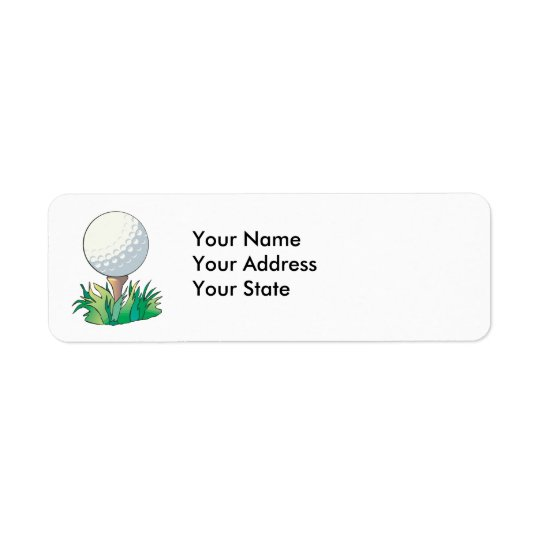 golfball sitting on golf tee return address label