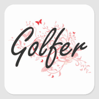 Golfer Artistic Job Design with Butterflies Square Sticker