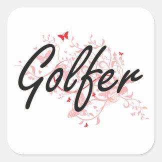 Golfer Artistic Job Design with Butterflies Square Sticker