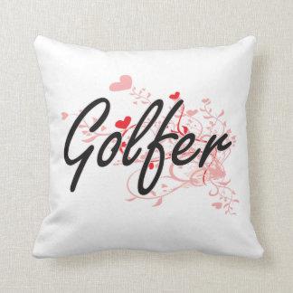 Golfer Artistic Job Design with Hearts Cushions