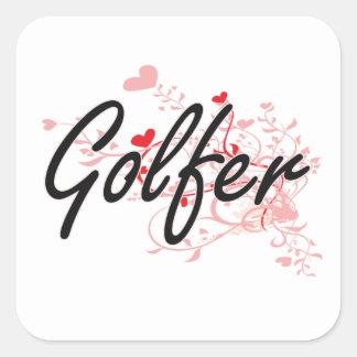 Golfer Artistic Job Design with Hearts Square Sticker