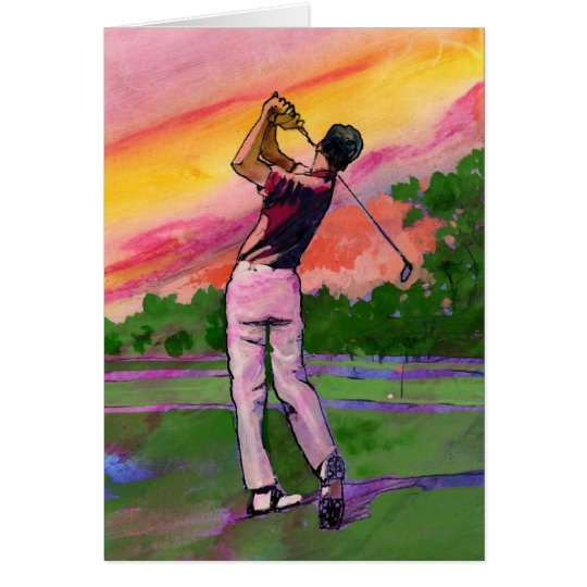 Golfer at field card
