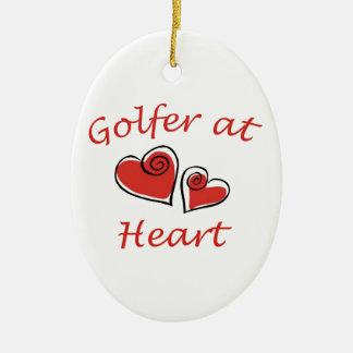 Golfer at Heart Ceramic Oval Decoration