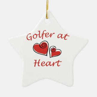 Golfer at Heart Ceramic Star Decoration